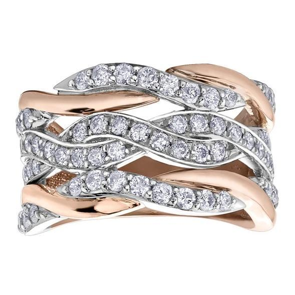 10KT ROSE GOLD 1.00CTTW PAVE DINNER RING