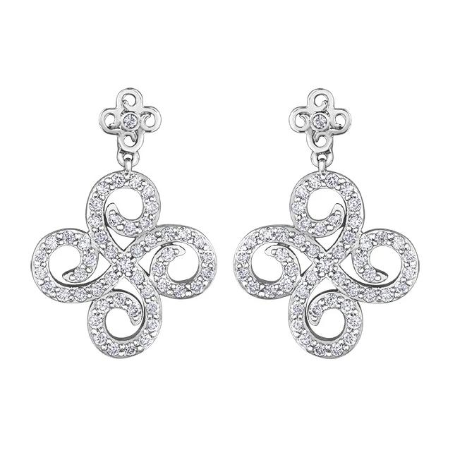 10KT WHITE GOLD 0.50CTTW SWIRL  DIAMOND EARRINGS