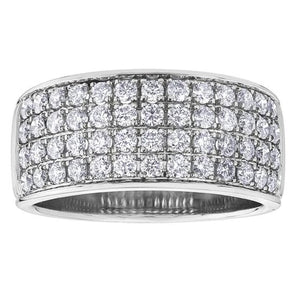 10KT WHITE GOLD 1.00CTTW FOUR ROW PAVE DIAMOND RING