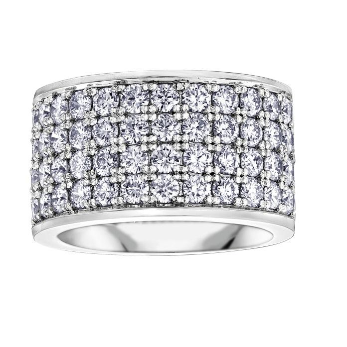 10KT WHITE GOLD 3.00CTTW FOUR ROW DIAMOND RING