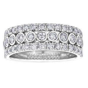 10KT WHITE GOLD 1.00CTTW THREE ROW DIAMOND RING