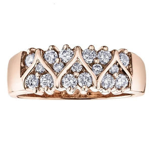 10KT ROSE GOLD 0.50CTTW HEART SHAPED PAVE DIAMOND BAND