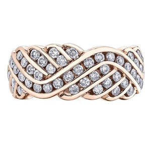 10KT ROSE GOLD 1.00CTTW WAVED PAVE RING