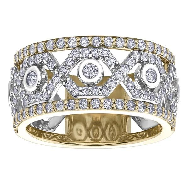 10KT TWO TONE 1.00CTTW PAVE DIAMOND RING