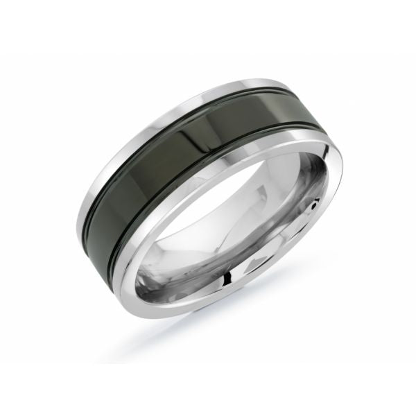 Black and Grey Polished Tungsten Wedding Ring