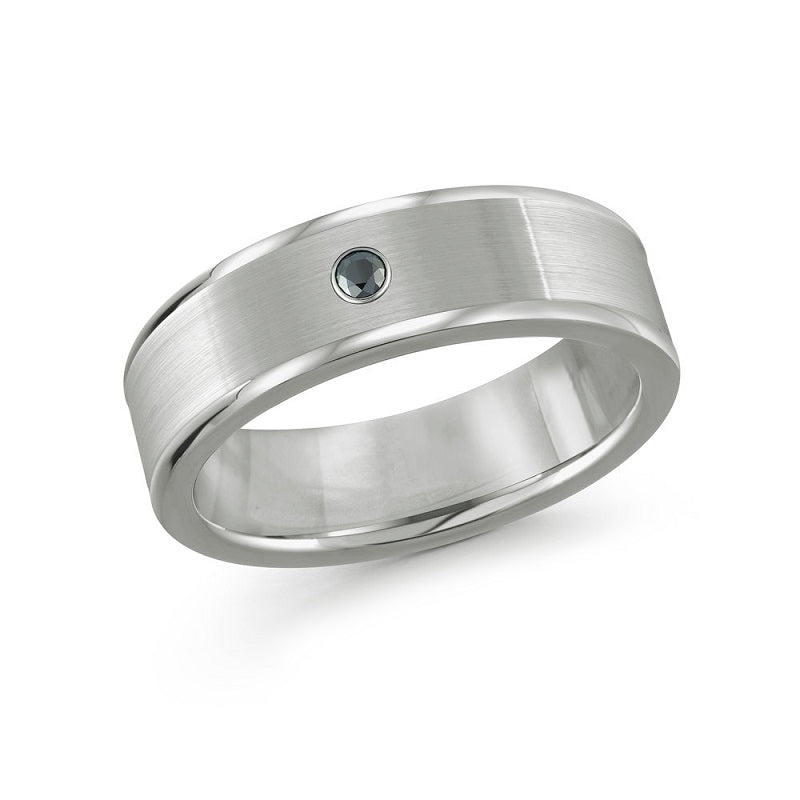 Men's Polished Tungsten Wedding Band With Back Diamond