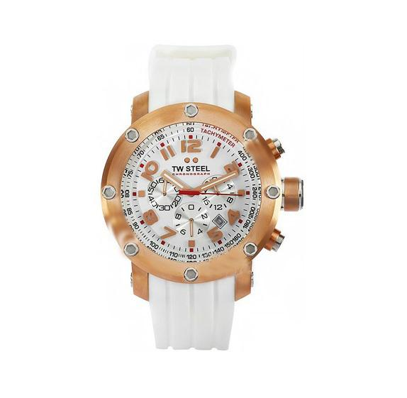 TW STEEL WHITE OVERSIZED CHRONOGRAPH MENS WATCH