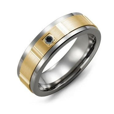 Men's Grooved Diamond Wedding Band