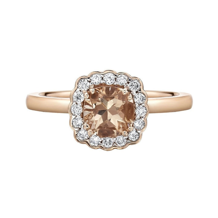 14kt Rose Gold Morganite and Diamonds Ring
