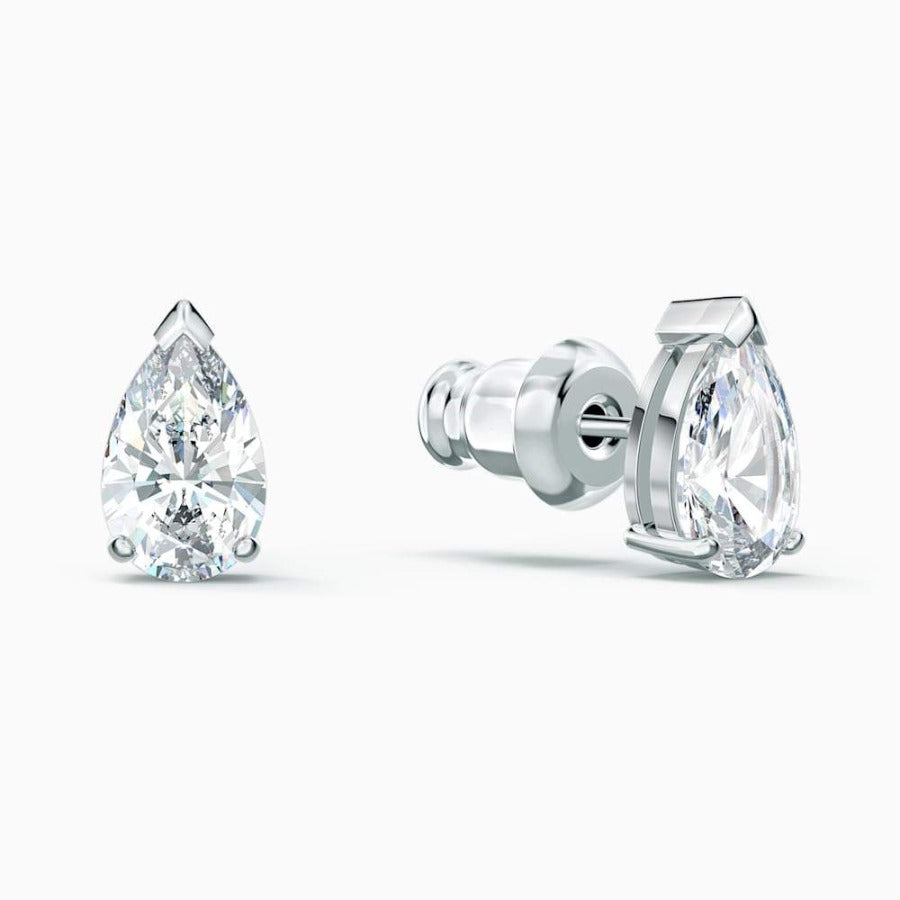 Swarovski Attract Pear Set, White, Rhodium Plated