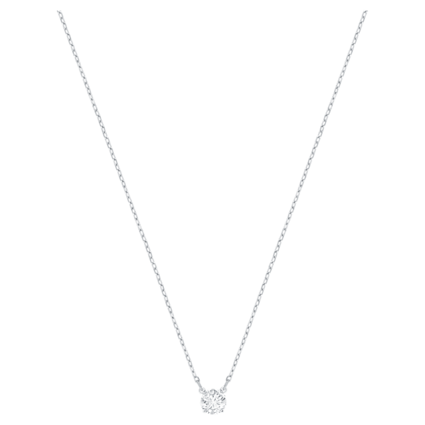 Swarovski Attract Round Necklace, White, Rhodium Plated
