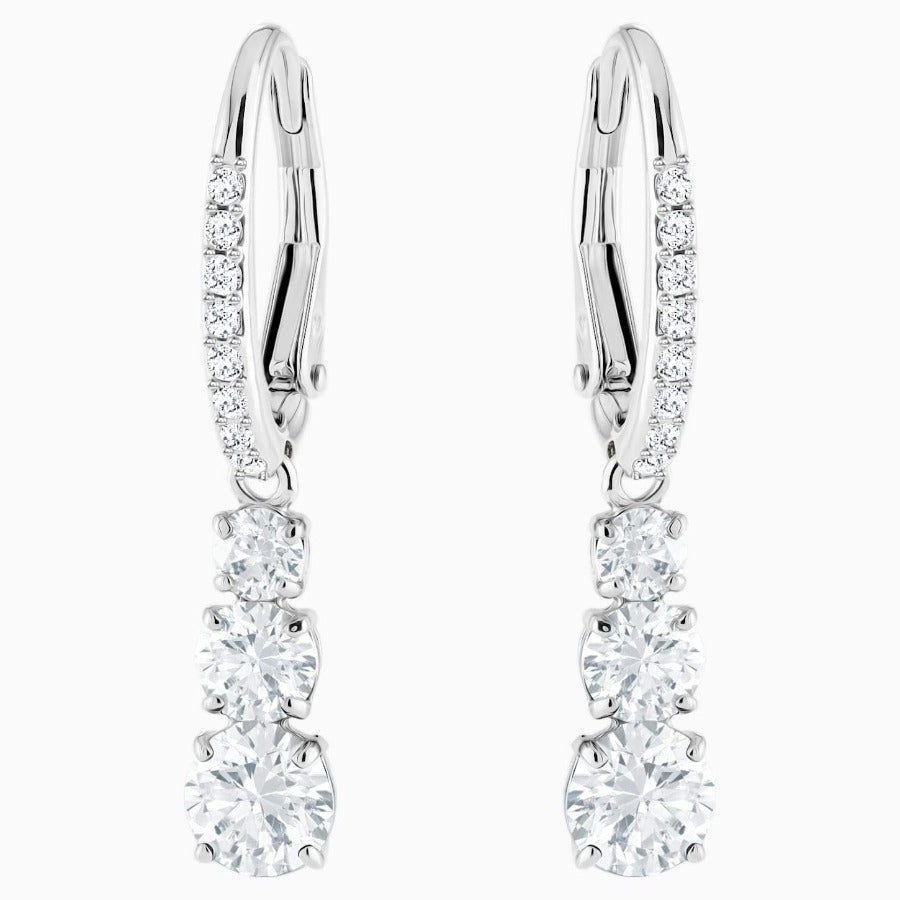 SWAROVSKI ATTRACT TRILOGY ROUND PIERCED EARRINGS, WHITE, RHODIUM PLATED