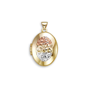10kt Tri-Color Gold Oval Locket