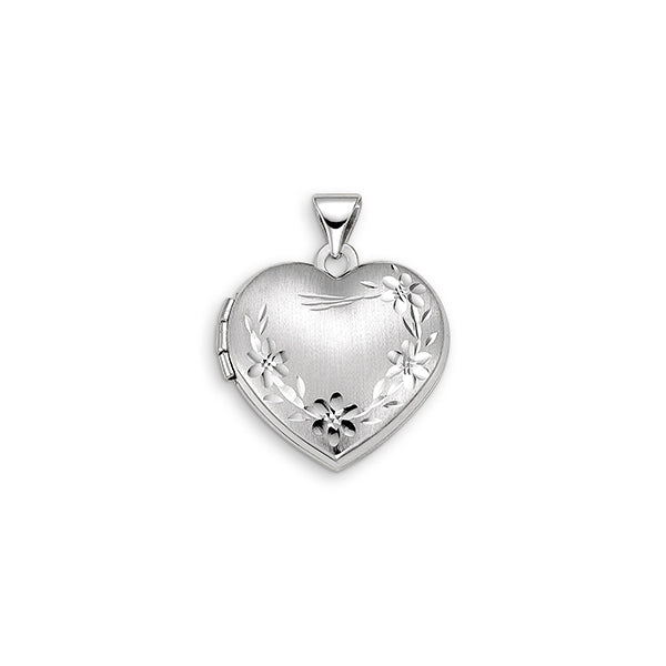 10kt White Gold Floral Heart Locket