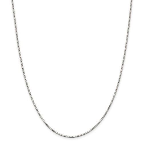 10kt White Gold 0.80mm Box Chain in 18""