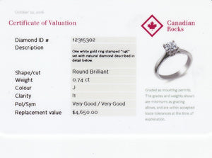 14kt White Gold 0.74ct Round Certified Canadian Diamond Solitaire