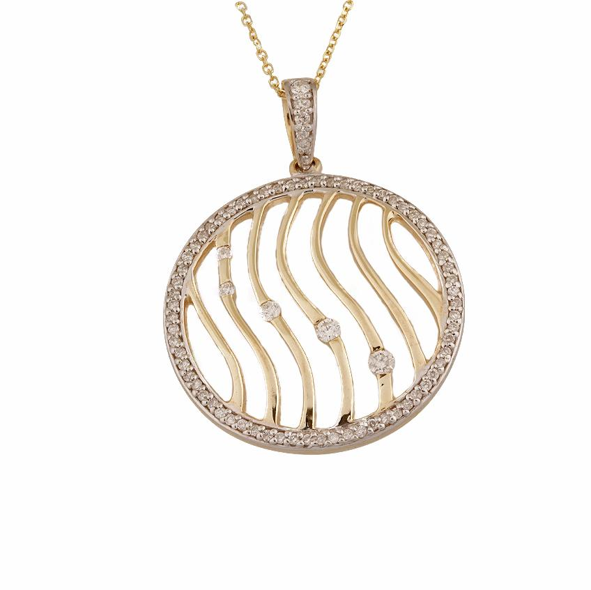 10KT YELLOW GOLD 0.40CTTW CIRCULAR DIAMOND PENDANT
