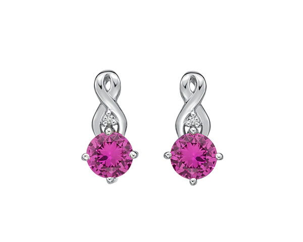 10kt White Gold Pink Sapphire and Diamond Infinity Earrings