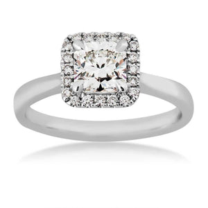 14kt White Gold 0.85cttw Square Halo Canadian Diamond Engagement Ring