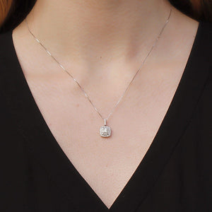 14KT WHITE GOLD 0.53CTTW HALO PENDANT WITH IDEAL CUSHION, CANADIAN CENTRE DIAMOND