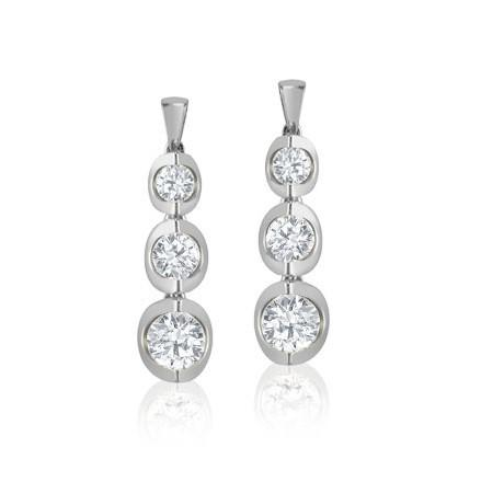 10KT WHITE GOLD 0.25CTTW DANGLING DIAMOND EARRINGS