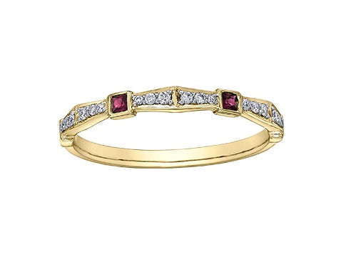 10kt Yellow Gold Ruby And Diamond Stackable Ring