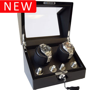 Black High Gloss Duel Watch Winder Box