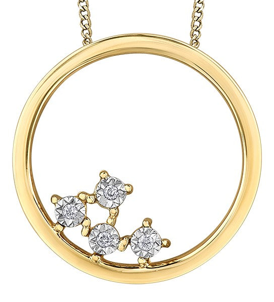 10kt Yellow Gold Circle Diamond Pendant