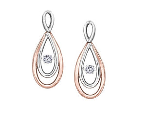 10kt White And Rose Gold 0.10cttw Infinity Pulse Earrings
