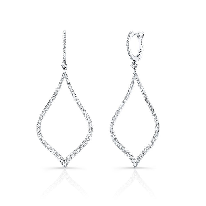 14kt White Gold 1.45cttw Pointed Pear Shape Drop Earrings
