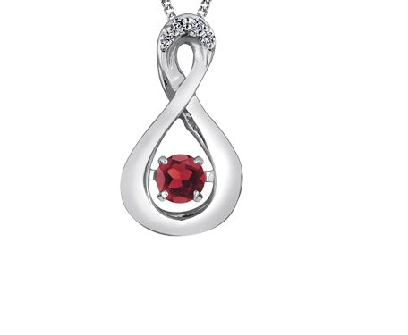 10kt White Gold Pulse Ruby And Diamond Infinity Pendant