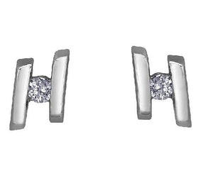 10kt White Gold and Diamond Double Line Stud Earrings