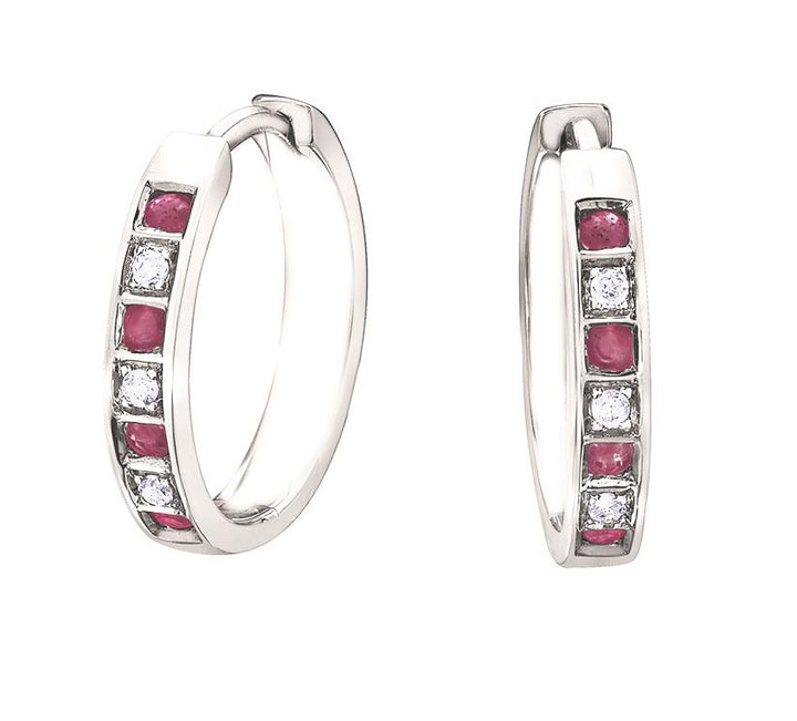 10kt White Gold Ruby and Diamond Earrings