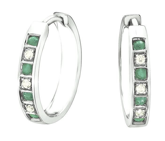 10KT White Gold Emerald and Diamond Earrings