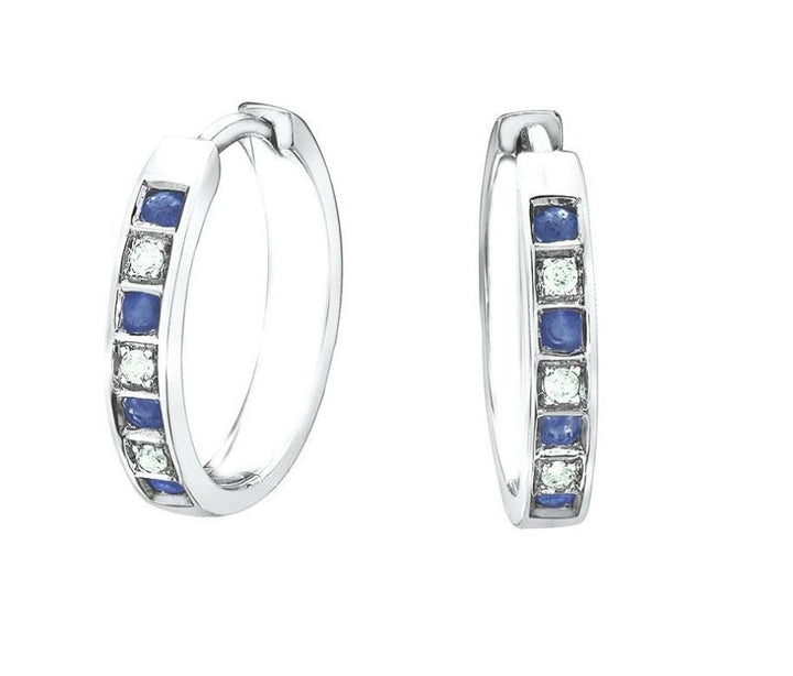 10KT White Gold Sapphire and Diamond Earrings