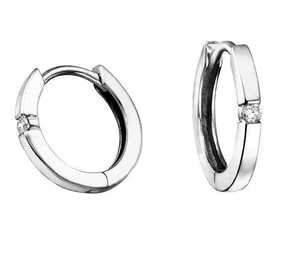 10kt White Gold and Diamond Hoop Earrings