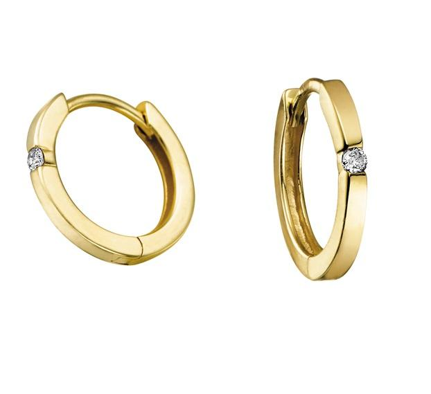 10kt Yellow Gold and Diamond Hoop Earrings