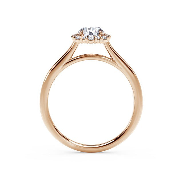18kt Rose Gold 0.84cttw Round Halo Engagement Ring
