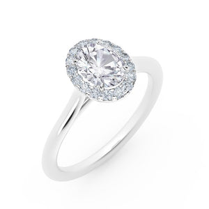 Platinum 0.88cttw Oval shaped Halo Engagement Ring
