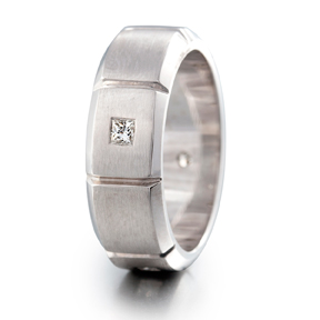 14kt White Gold Solitaire Diamond Men's Wedding Band