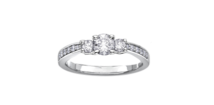 14kt Three Stone 0.33cttw Certified Diamond Ring