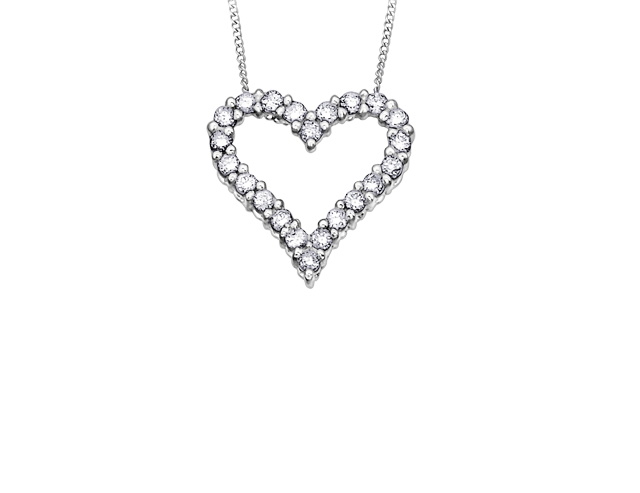 10kt White Gold 0.50cttw Diamond Heart Pendant