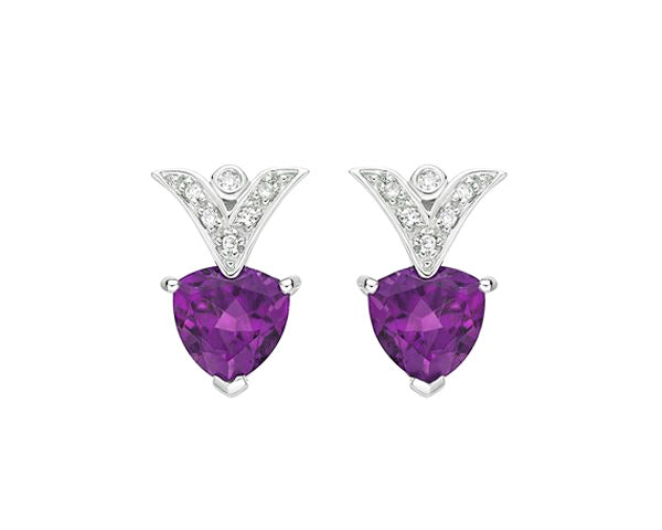 10kt White Gold Amethyst and Diamond Earrings
