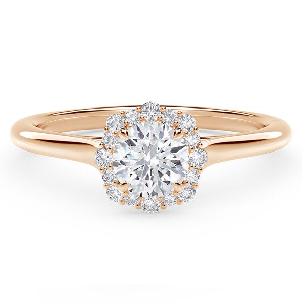 18kt Rose Gold 0.84cctw Round Halo Engagement Ring