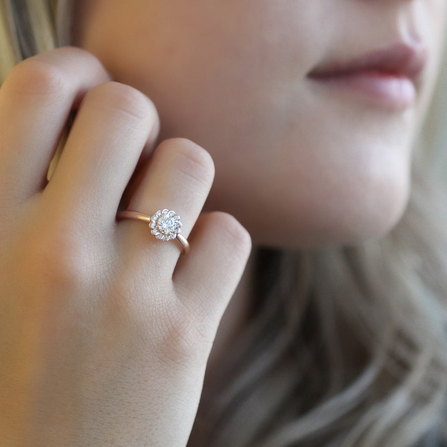 14kt Rose Gold Canadian Halo 0.63cttw Engagement Ring