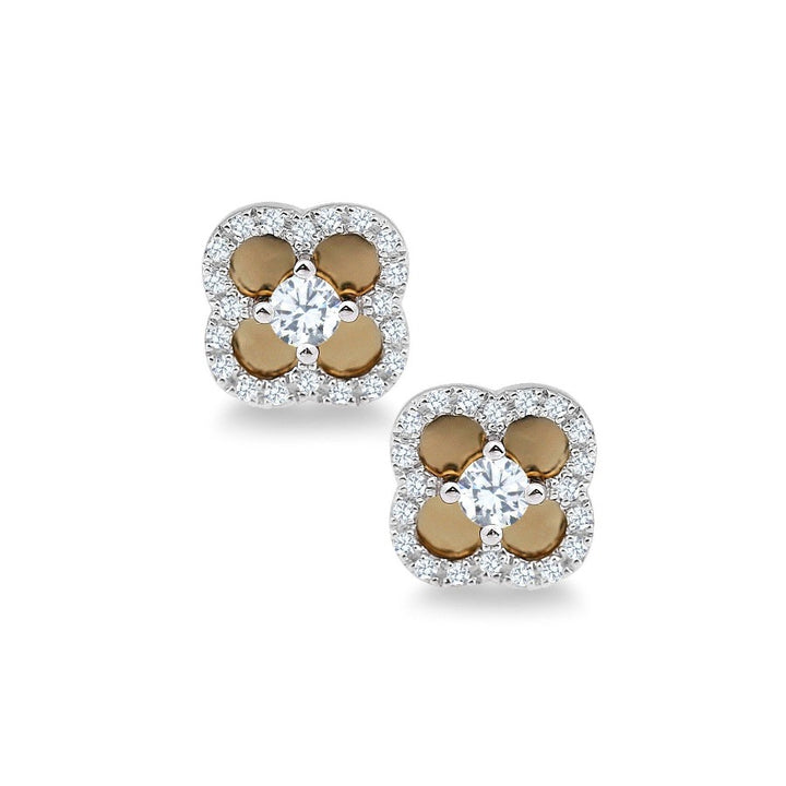 10KT WHITE/YELLOW GOLD  0.26CTTW DIAMOND FLOWER STUD EARRINGS