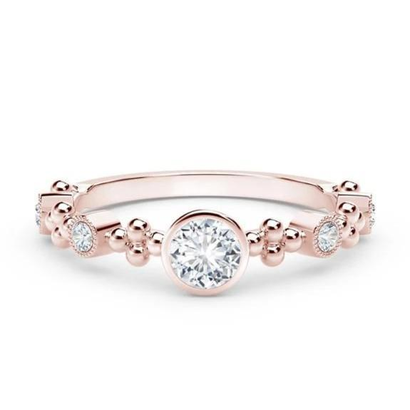 18kt Rose Gold 0.35cttw Feminine Diamond Ring