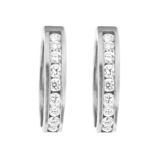 10kt White Gold 0.75cttw Channel Set Diamond Hoop Earring