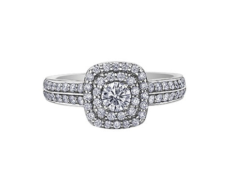 14kt White Gold 0.75cttw Canadian Diamond Center Halo Engagement Ring