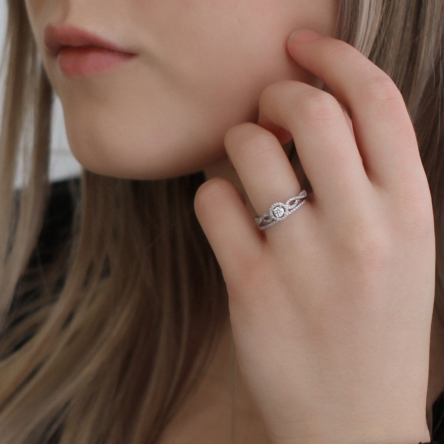10kt White Gold Round Halo Infinity Engagement Ring